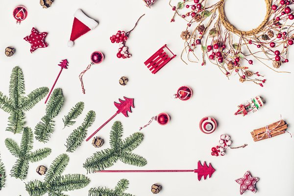 Holiday Stock Photos: VICUSCHKA - Christmas decorations flat lay