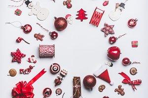 Christmas ornaments flat lay
