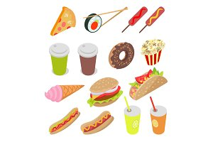Unhealthy Food and Drinks Set
