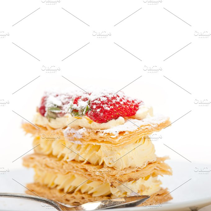 napoleon strawberry cream cake dessert 026.jpg - Food & Drink