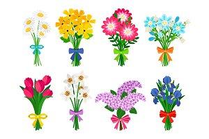 Fresh flowers bouquets. Summer