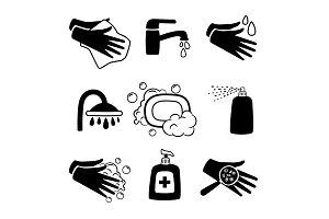Hygiene black icons. Antiseptic