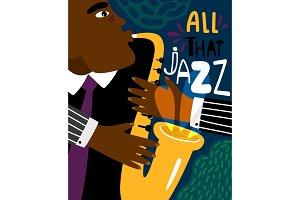 Jazz poster. Clubbing sax music