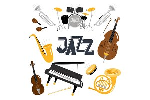 Jazz musical instruments. Vector