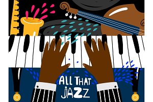 Jazz piano poster. Blues and jazz