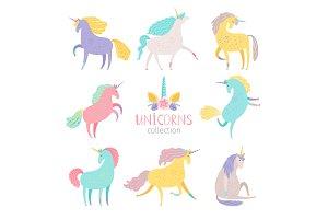 Fairytale unicorn set. Rainbow color