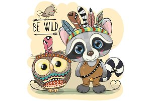 Cute tribal Raccoon and owl with