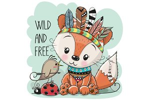Cute tribal Fox and bird with