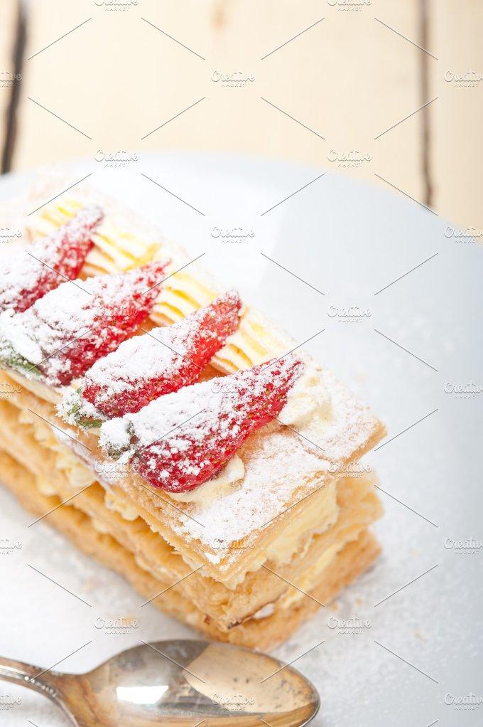 napoleon strawberry cream cake dessert 015.jpg - Food & Drink