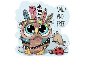 Cute tribal Owl and bird with