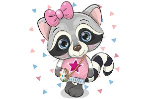 Cute Raccoon with a bow on a white
