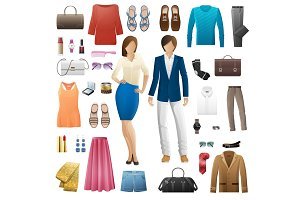 Set of Clothes. Fashion Look Style