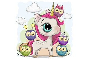 Cute Cartoon Unicorn and five owls