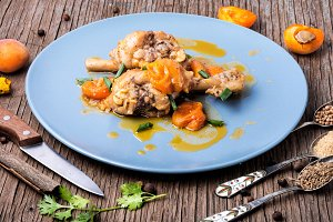 Chicken meat in apricot sauce