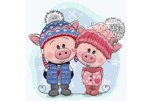 Cute winter illustration Pigs Boy