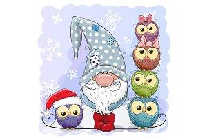 Cute Cartoon Gnome and Owls blue