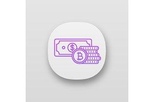 Bitcoin coins and dollar app icon