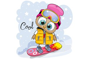 Cute cartoon Owl on a snowboard