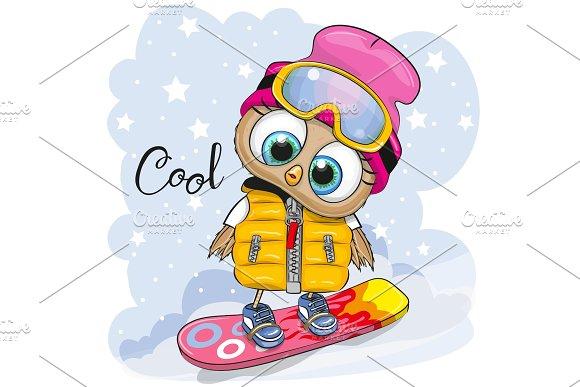 Cute Cartoon Owl On A Snowboard Pre Designed Vector Graphics Creative Market