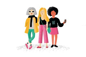 women friends. fashion characters