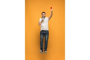 Football supporter with red card on