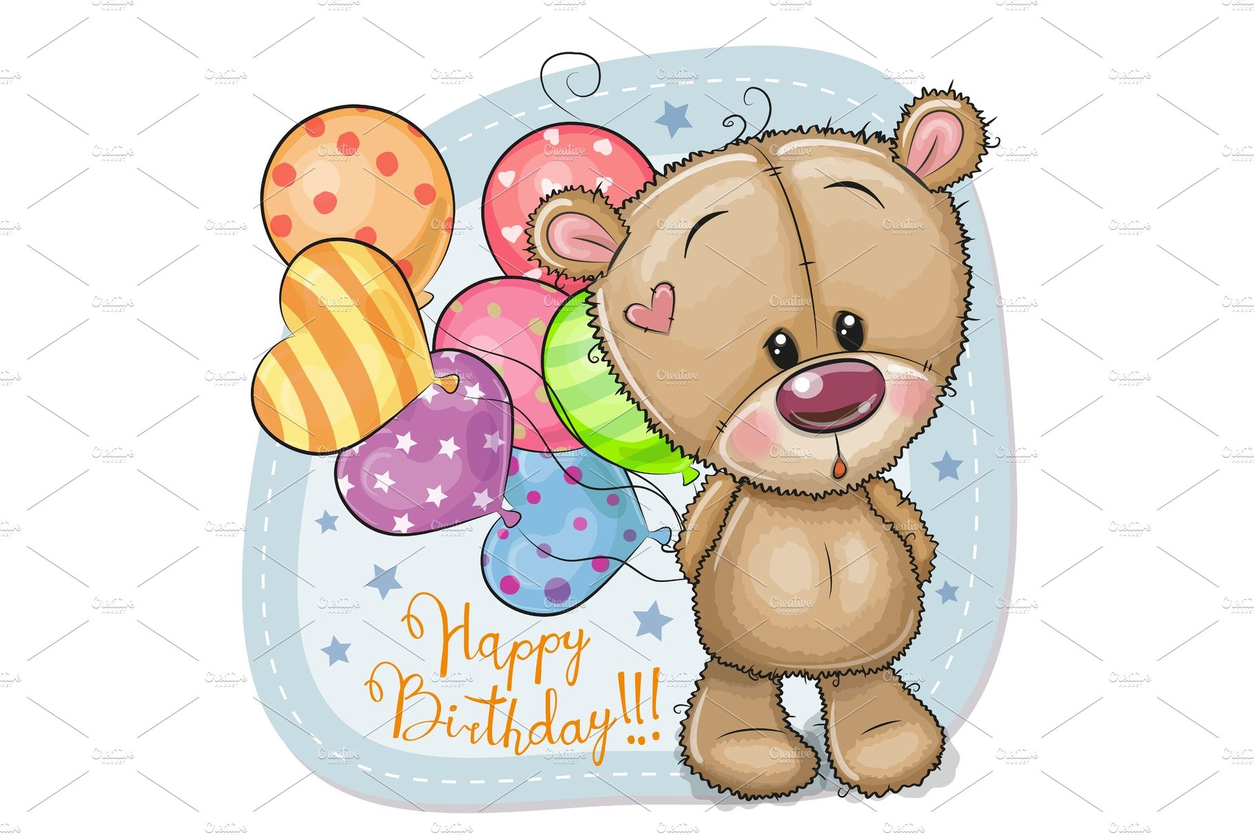 Greeting Card Teddy Bear With Illustrations Creative Market