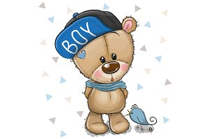 Cute Cartoon Teddy Bear in cap on a