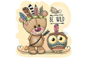 Cute tribal Teddy Bear and owl with