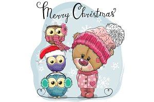 Greeting Christmas card Cute Teddy
