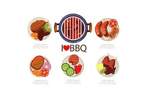 Barbecue icons set, grilled food