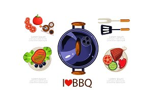 Barbecue icons set, grilling
