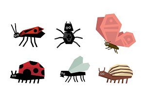Geometric insects set, spider, bug