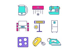 Household appliance color icons set