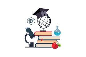 Microscope, globe and graduation