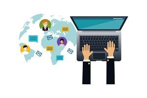 Social media network, human hands