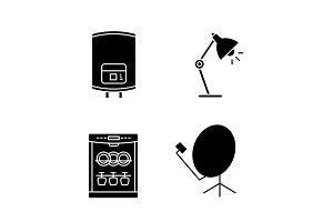 Household appliance glyph icons set