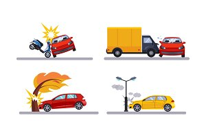 Car accidents, cars involved in a