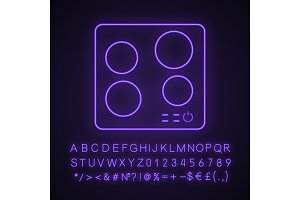 Electric induction hob neon icon