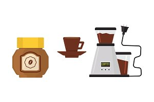 Flat vector icon of coffee maker