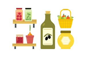 Flat vector design of basket with