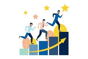 People run on career stairs vector