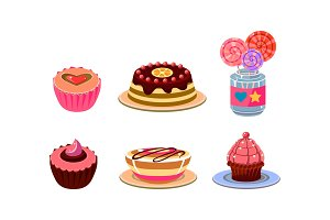 Flat vector set of different sweets