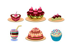 Flat vector set of tasty desserts