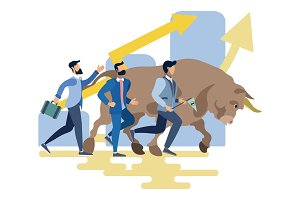 Businessmen and bull run vector