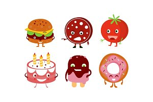 Flat vector set of humanized food
