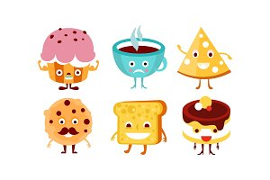 Flat vector set of funny food and