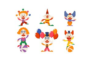 Set of funny clowns in different