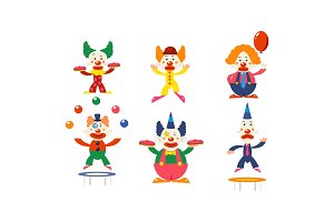 Flat vector set of clowns in