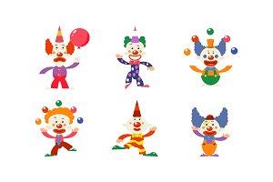 Flat vector set of 6 funny clowns
