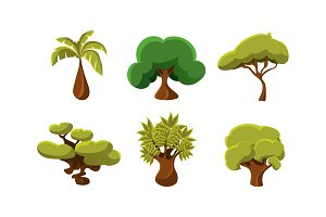 Flat vector set of 6 green trees